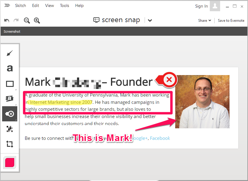 Mark Ginsberg Skitch Screenshot Digital Marketing